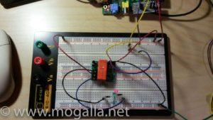 Bild: Versuchsaufbau bistabiles Relais rote LED