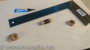 Bild: Links der gekochte Rohling, rechts der geklebte Rohling und in der Mitte die Urform