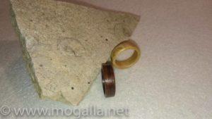 Bild: Zwei fertig polierte Holzringe aus Furnier